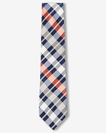 narrow bold plaid silk tie