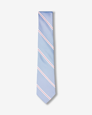 Express Mens Striped Narrow Tie Blue