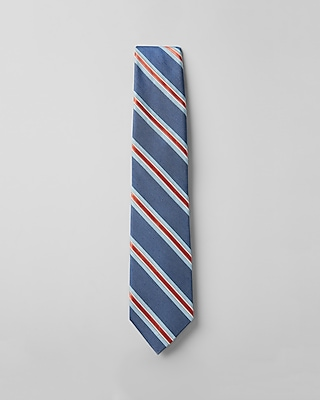 Express Mens Multi Stripe Narrow Silk Blend Tie