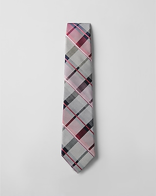 Express Mens Plaid Narrow Silk Blend Tie