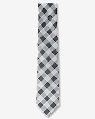 Express Mens Check Print Narrow Cotton Tie