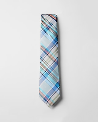 Express Mens Narrow Silk Plaid Tie