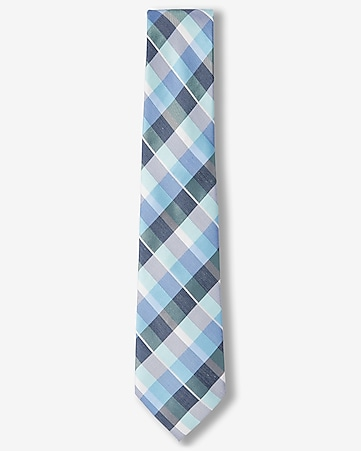 check print narrow silk blend tie