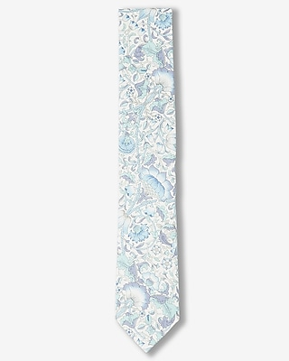 Express Mens Large Floral Print Slim Liberty Fabric Cotton Tie