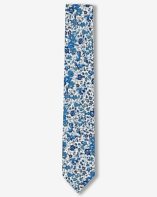 Express Mens Floral Print Slim Liberty Fabric Cotton Tie