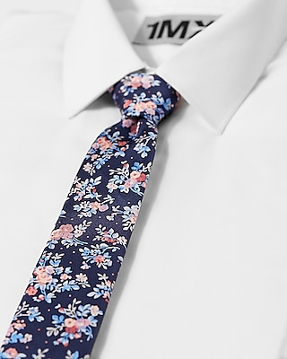 Express Mens Slim Floral Patterned Silk Tie