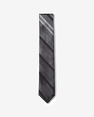 Express Mens Slim Diagonal Stripe Silk Tie