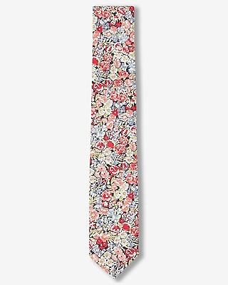 Express Mens Red Floral Print Slim Liberty Fabric Cotton Tie