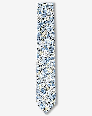 Express Mens Blue Floral Print Slim Liberty Fabric Cotton Tie