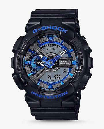 g-shock black and blue oversized watch