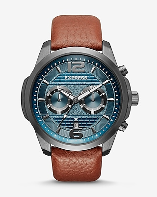 Express Mens Pebbled Leather Multi-Function Watch