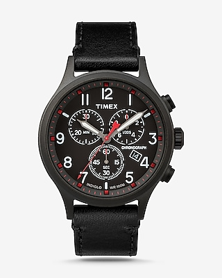Express Mens Timex Scout Leather-Strap Chronograph Watch