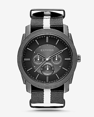 Express Mens Rivington Stripe Multi-Function Watch - Black And White