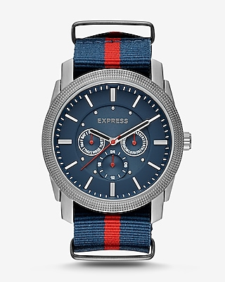 Express Mens Rivington Stripe Multi-Function Watch - Navy And Red