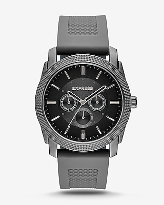 Express Mens Rivington Textured Silicone Multifunction Watch - Gray