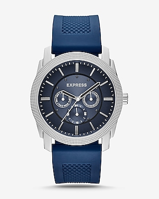 Express Mens Rivington Textured Silicone Multifunction Watch - Navy