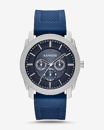 rivington textured silicone multifunction watch - navy