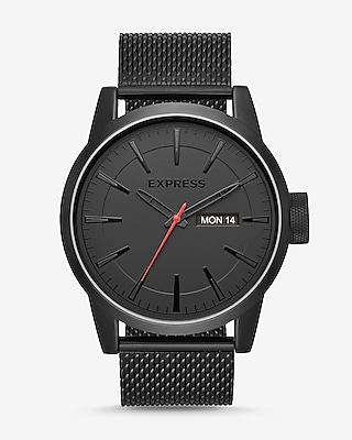 Express Mens Empire Black Mesh Strap Muti-Function Watch