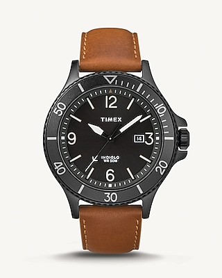 Express Mens Timex Cognac Leather Strap Watch