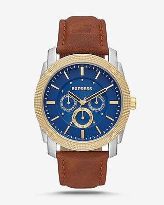 Express Mens Express Mens Rivington Blue Face Multi-Function Watch - Brown Leather