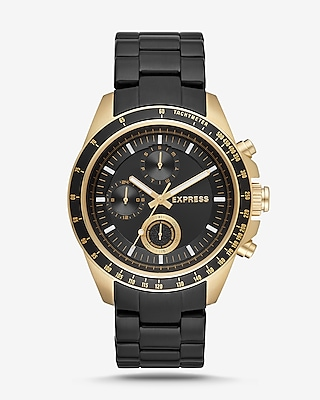 Express Mens Chronograph Black And Gold Stainless Steel Bracelet Watch Black Men's  Black
