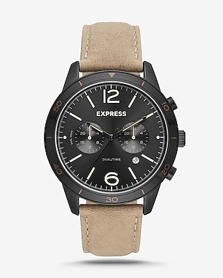 Express Mens Tan Leather Strap Multi-Function Watch