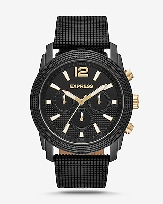 Express Mens Express Mens Rivington Black Textured Leather Band Multi-Function Watch