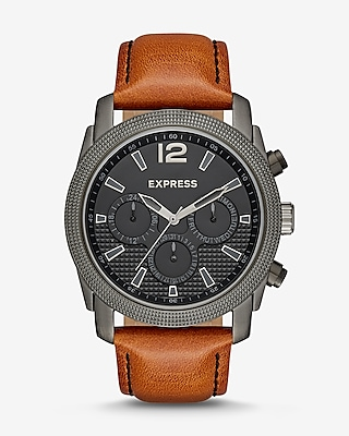 Express Mens Express Mens Rivington Textured Multi-Function Leather Watch - Cognac