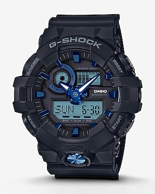 Express Mens G-Shock Black And Blue Analog & Digital Watch