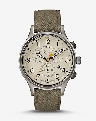 Express Mens Timex Scout Stainless Steel Chronograph Watch