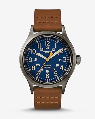 Express Mens Timex Leather Strap Scout Watch