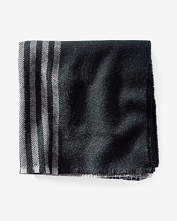 black and gray striped scarf