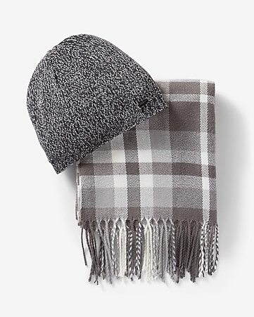 gray plaid scarf and beanie set