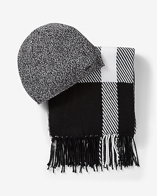 Express Mens Black And White Plaid Scarf And Beanie Set