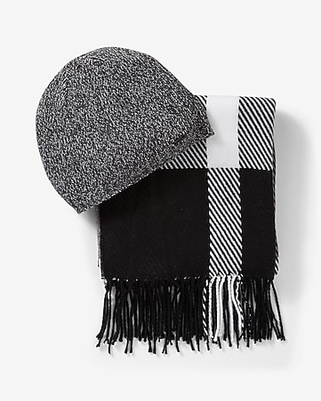 black and white plaid scarf and beanie set