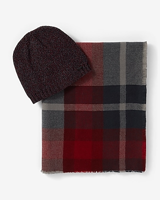 Express Mens Red And Gray Plaid Scarf And Beanie Set 06004229