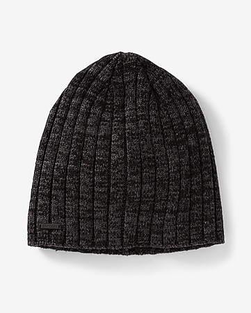 black ribbed beanie