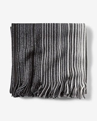 Express Mens Fringed Ombre Stripe Merino Wool Scarf