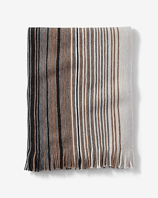 Express Mens Fringed Ombre Stripe Merino Wool Scarf Neutral