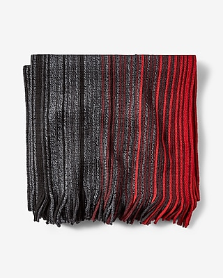 Express Mens Fringed Ombre Stripe Merino Wool Scarf Red