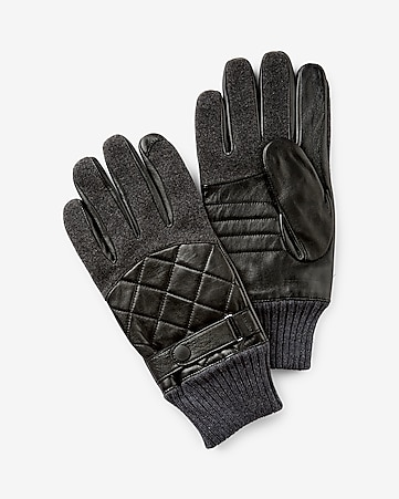 leather and wool quilted glove