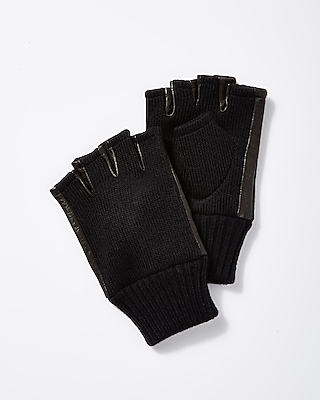 Express Mens Black Leather And Knit Fingerless Gloves 06004294C