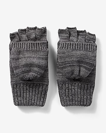 stripe pattern flip-top gloves
