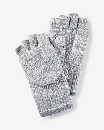 marled wool blend flip top gloves