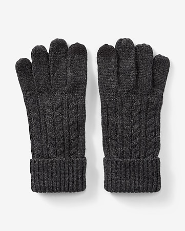 wool-blend cable knit gloves
