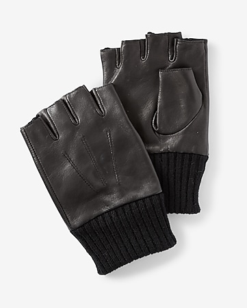 leather and knit fingerless gloves
