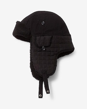 quilted sherpa trapper hat