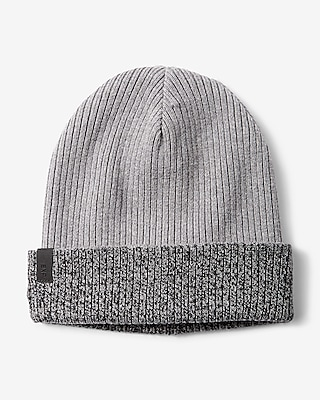 Express Mens Marled Reversible Turnback Beanie Gray 12347513