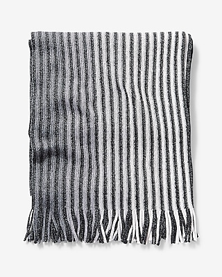 Express Mens Merino Wool Blend Striped Scarf
