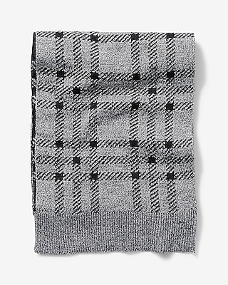 Express Mens Plaid Merino Wool Blend Scarf